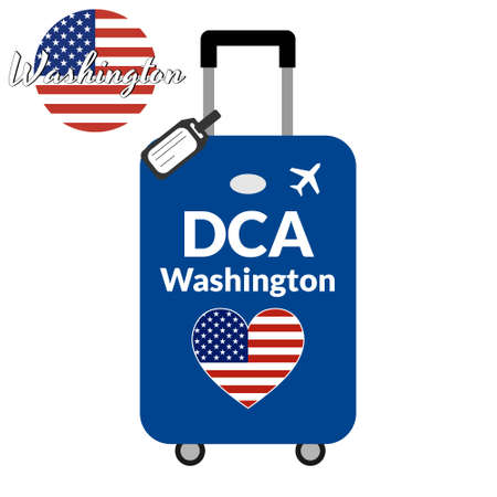 Luggage with airport station code IATA or location identifier and destination city name Washington, DCA. Travel to the United States of America concept. Heart shaped flag of the USA on baggage.