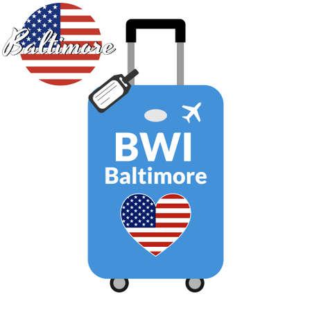 Bagages avec code de gare aéroportuaire IATA ou identifiant de localisation et nom de la ville de destination Baltimore, BWI. Voyage au concept des États-Unis d'Amérique. Drapeau en forme de coeur des USA sur les bagages.