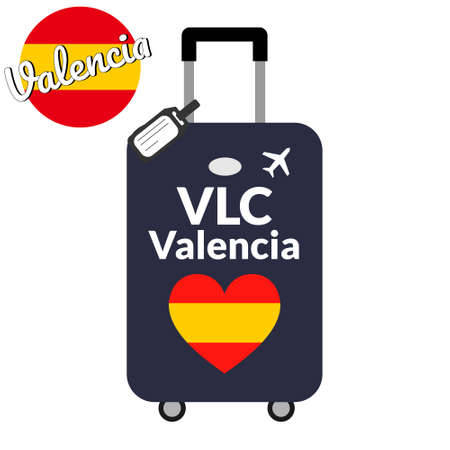 Luggage with airport station code IATA or location identifier and destination city name Valencia, VLC. Travel to Spain, Europe concept. Heart shaped flag of the Spain on baggage.