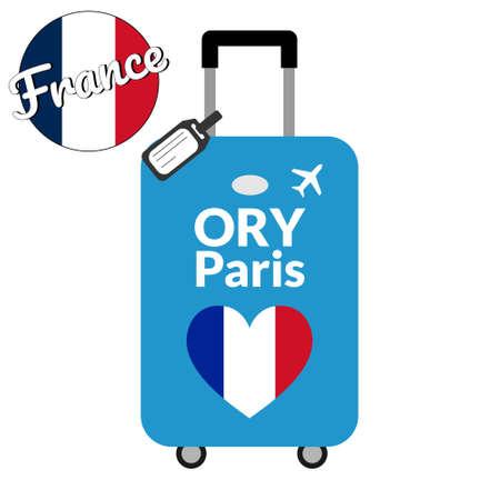Bagage avec code gare aéroport IATA ou identifiant de localisation et nom de la ville de destination Paris, ORY. Voyage en France, concept Europe. Drapeau de la France en forme de coeur sur les bagages.