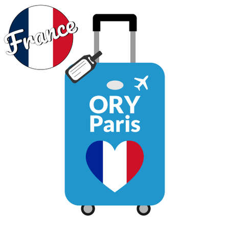 Luggage with airport station code IATA or location identifier and destination city name Paris, ORY. Travel to France, Europe concept. Heart shaped flag of the France on baggage. Stock Illustratie