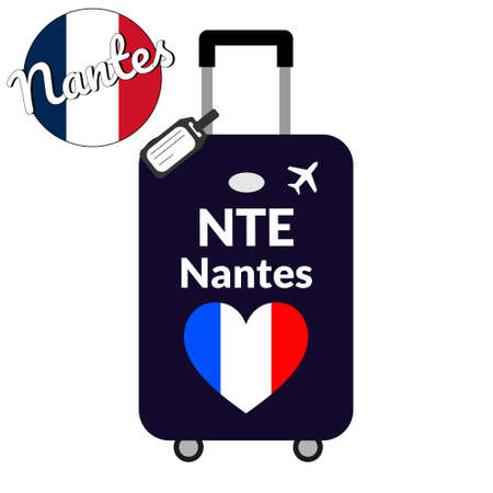 Luggage with airport station code IATA or location identifier and destination city name Nantes, NTE. Travel to France, Europe concept. Heart shaped flag of the France on baggage. Illustration