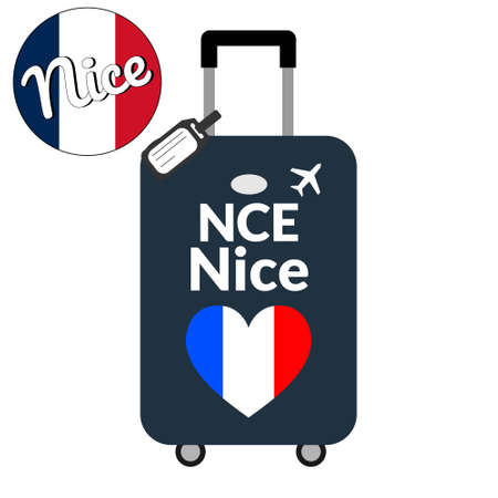 Luggage with airport station code IATA or location identifier and destination city name Nice, NCE. Travel to France, Europe concept. Heart shaped flag of the France on baggage.