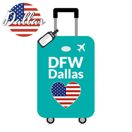 Luggage with airport station code IATA or location identifier and destination city name Dallas, DFW. Travel to the United States of America concept. Heart shaped flag of the USA on the baggage Illustration