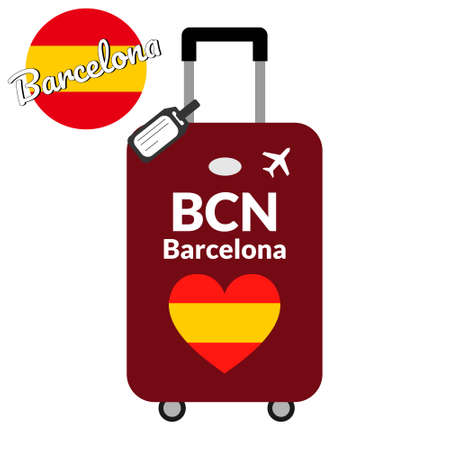 Luggage with airport station code IATA or location identifier and destination city name Barcelona, BCN. Travel to Spain, Europe concept. Heart shaped flag of the Spain on baggage
