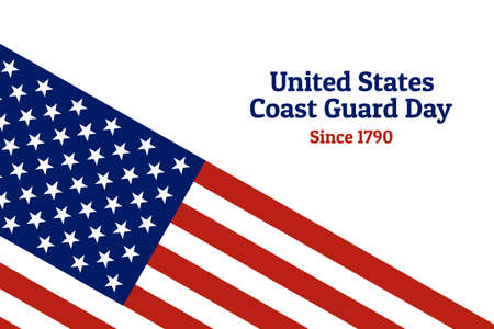 Coast Guard Day holiday background with national flag of the United States of America. Annual celebrated every August 4. For banner, card, poster