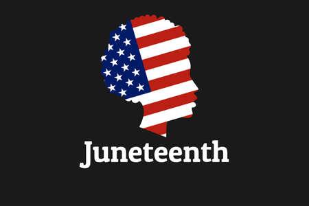 Giugno Libertà, Emancipazione, Giorno dell'Indipendenza. 19 giugno. Siluetta della ragazza afroamericana con la bandiera nazionale degli Stati Uniti d'America. Per poster, banner, biglietti e sfondo. vettore eps10