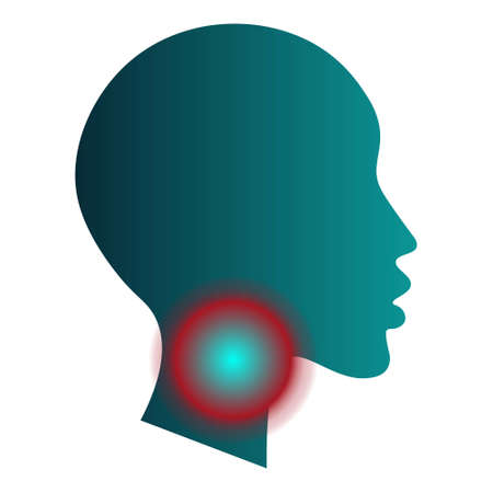 Medical infographic template - sore throat. Human head silhouette with pain localization sign mark. White background. For poster, presentation, brochure.