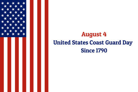 Coast Guard Day holiday background with national flag of the United States of America. Annual celebrated every August 4. For banner, card, poster. Illusztráció