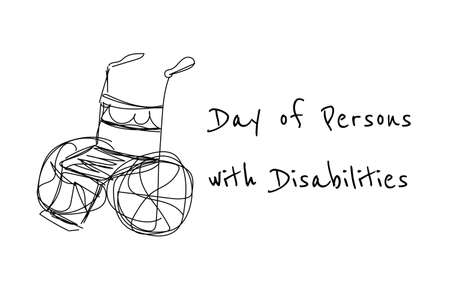 International Day of Persons with Disabilities - December 3. Single continuous line drawing. Conceptual template for banner, background, card, poster with handwriting text inscription. Vector. .