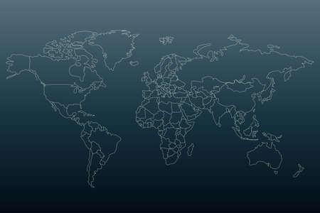 Mappa del mondo di contorno bianco. Modello piatto per banner, poster, sito web, report, infografica. Sfondo sfumato nero. Sagoma di mappamondo simile del globo. Concetto di viaggio.