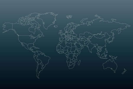 White outline world map. Flat template for banner, poster, web-site, report, infographic. Black gradient background.Globe similar worldmap silhouette. Travel concept.