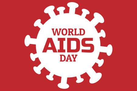 World aids day concept creative background with molecule of HIV - human immunodeficiency viruses. Template for banner, poster with text inscription. Ilustração