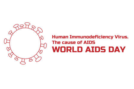 World aids day concept creative background with molecule of HIV - human immunodeficiency viruses. Template for banner, poster with text inscription. 矢量图像