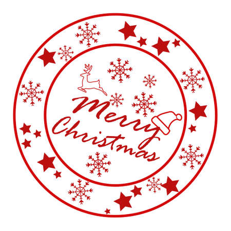 Merry Christmas and Happy New Year circle badges, stamps or labels with text inscription. Decorative template for banner, greetings card, poster.