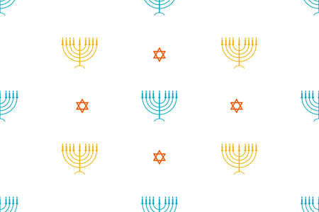 Seamless pattern with Star of David and Menorah - traditional candlestick. Template for background, banner, card, poster, web, textile. Ilustracja