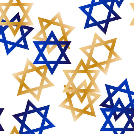 Seamless pattern with gold and blue Star of David. Template for background, banner, card, poster, web, textile. Illustration