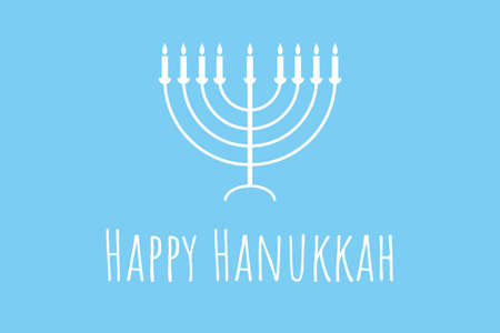 Happy Hanukkah - festive background with Menorah - traditional candlestick. Modern minimalistic template for banner, card, poster with text inscription.