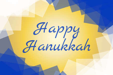 Happy Hanukkah - festive background. Modern minimalistic template for banner, card, poster with text inscription.