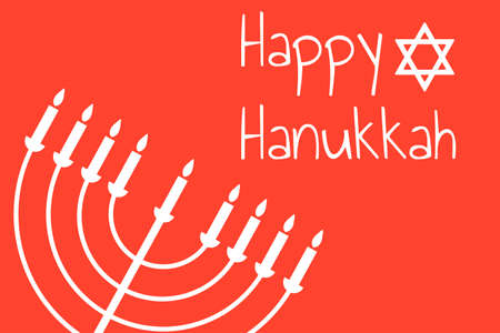 Happy Hanukkah - festive background with Star of David and menorah - traditional candlestick. Modern minimalistic template for banner, card, poster with text inscription.