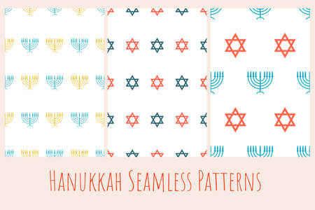 Set of seamless patterns with Star of David and Menorah - traditional candlestick. Collection of minimalistic templates for background, banner, card, poster, web, textile. Ilustracja