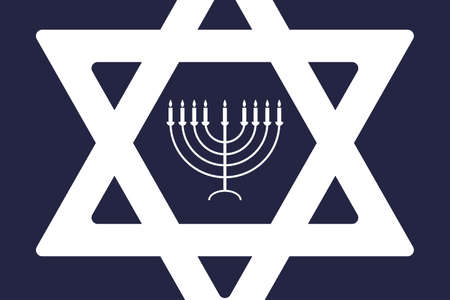 Happy Hanukkah - festive background with Star of David and menorah - traditional candlestick. Modern minimalistic template for banner, card, poster. Ilustracja