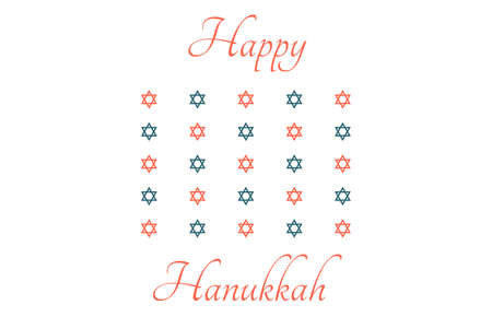 Happy Hanukkah - festive background with Star of David. Modern minimalistic template for banner, card, poster with text inscription.