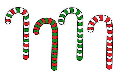 Set of different christmas candy canes with red and green stripes. Flat icon element for background, banner, card, poster. Isolated on the white background.