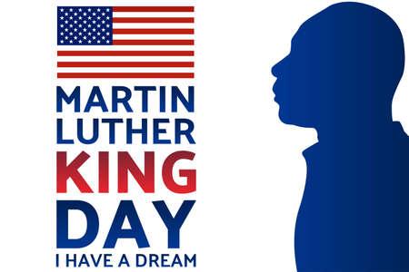Geburtstag von Martin Luther King, Jr. MLK-Tag. Patriotisches Konzept des Urlaubs mit Silhouette. 20. Januar. Vorlage für Hintergrund, Banner, Karte, Poster mit Textaufschrift. Vektor-Illustration.