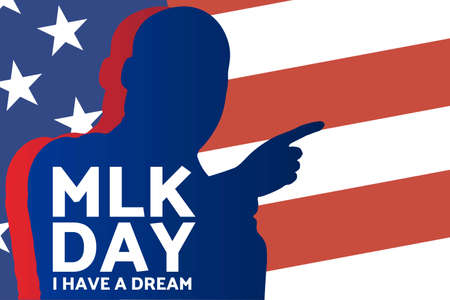 Birthday of Martin Luther King, Jr. MLK Day. Patriotic concept of holiday with silhouette. January 20. Template for background, banner, card, poster with text inscription. Vector illustration.