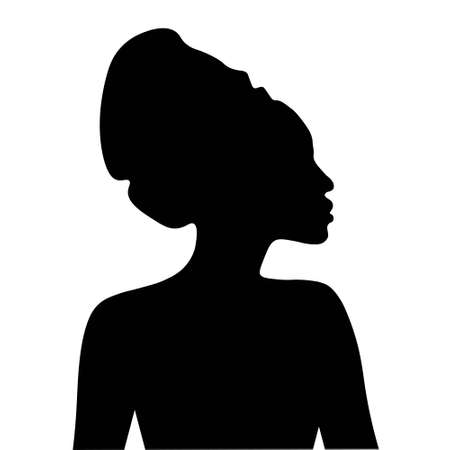 Black silhouette of African woman in headdress. Portrait in profile Vector illustration.