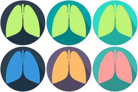 Set of anatomically correct lungs. Different colors of lungs and circle backgrounds. Modern design. Template for background, banner, card, poster. Vector illustration.