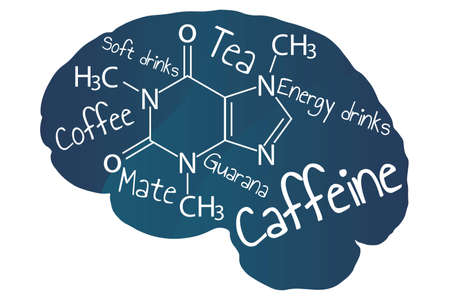 Blue human brain with white inscription caffeine and names of caffeinated drinks. Template for background, banner, card, poster with text lettering.