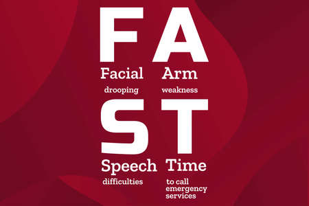May is National Stroke Awareness Month. Stroke symptoms. Mnemonic concept. Template for background, banner, card, poster with text inscription. Vector EPS10 illustration. Vectores