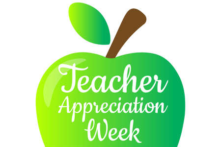Teacher Appreciation Week. Holiday concept. Template for background, banner, card, poster with text inscription. Vector illustration. Vetores