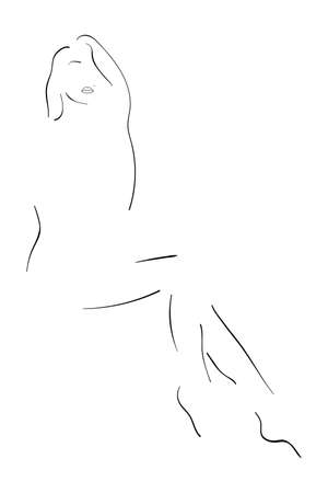 Line art. Sensual female figure outline. Black and white silhouette of attractive girl isolated on the white background. Vector EPS10 illustration.