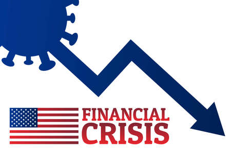Financial crisis concept. Template for background, banner, poster with text inscription. Vector EPS10 illustration.