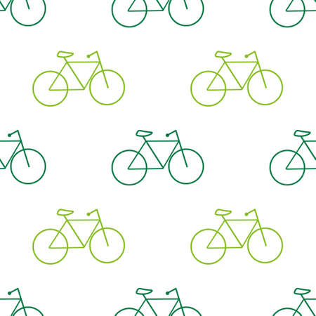 Green bicycle seamless pattern. Vector EPS10 illustration.