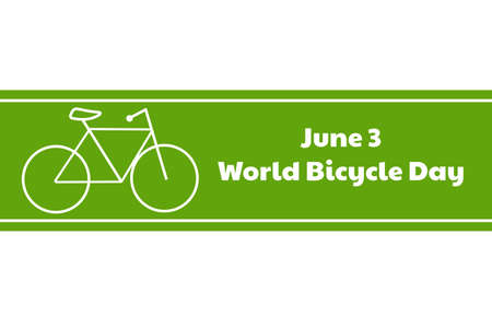 World Bicycle Day. June 3. Holiday concept. Template for background, banner, card, poster with text inscription. Vector EPS10 illustration.