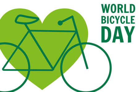 World Bicycle Day. June 3. Holiday concept. Template for background, banner, card, poster with text inscription. Vector EPS10 illustration. Çizim