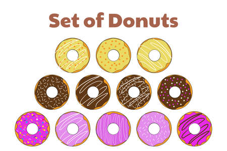 Set of donuts. Template for background, banner, card, poster with text inscription. Vector EPS10 illustration