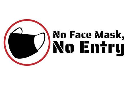 Keine Gesichtsmaske, kein Service. Neuartiges Coronavirus COVID-19 oder 2019-nCoV. Vorlage für Zeichen, Hintergrund, Banner, Poster. Vektor Vektorgrafik