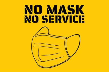 Pas de masque, pas de service. Nouveau coronavirus COVID-19 ou 2019-nCoV. Modèle de signe, arrière-plan, bannière, affiche. Vecteur