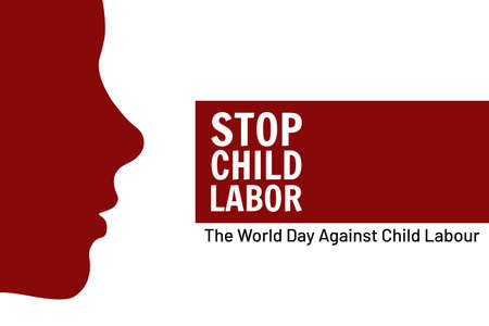World Day Against Child Labor concept. Template for background, banner, card, poster with text inscription. Vector