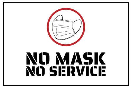 No face mask, no service. Novel Coronavirus COVID-19 or 2019-nCoV. Template for sign, background, banner, poster. Vector Vektorgrafik