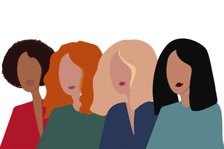 Drawing of a women of different nationalities in trendy style. Vector illustration.