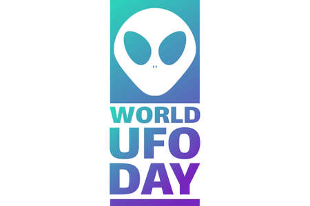 World UFO Day. July 2. Holiday concept. Template for background, banner, card, poster with text inscription.
