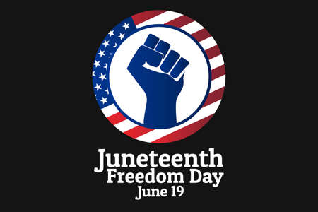 Juneteenth, Freedom Day. June 19. Holiday concept. Template for background, banner, card, poster with text inscription. Vector EPS10 illustration.