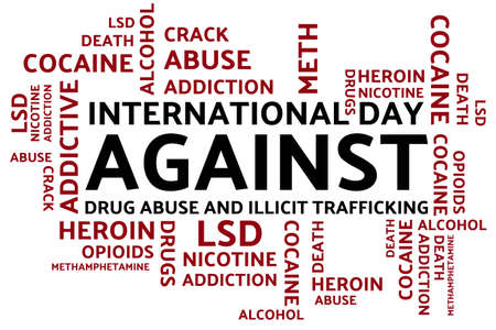 International day against drug abuse and illicit trafficking concept. Template for background, banner, card, poster with text inscription. Vector EPS10 illustration.