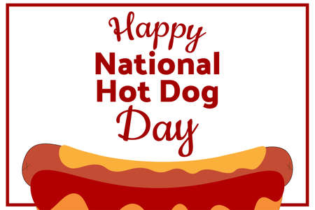 National Hot Dog Day. Holiday concept. Template for background, banner, card, poster with text inscription. Vector EPS10 illustration. Banco de Imagens - 149583763